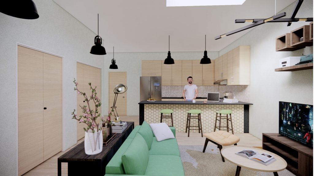 One Bedroom Living and Kitchen Area